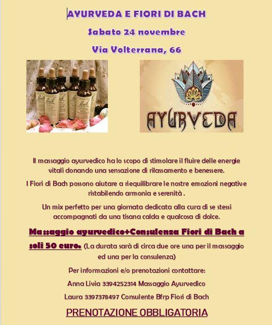 24 novembre 2019 - Massaggio ayurvedico - Consulenza Laura Fiori di Bach
